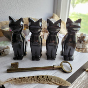 Black Onyx Crystal Gemstone Carved Cats