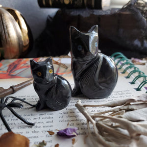 Black Onyx Carved Crystal Cats
