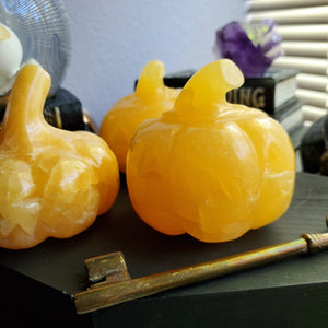 Orange Calcite Carved Halloween Crystal Pumpkin