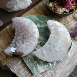 Agate Crystal Crescent Druzy Moons