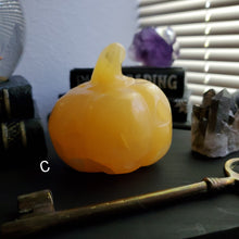 Load image into Gallery viewer, Orange Calcite Carved Halloween Crystal Pumpkin