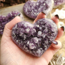 Load image into Gallery viewer, Purple Amethyst Cluster Crystal Hearts