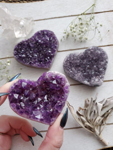 AA Purple Amethyst Cluster Crystal Hearts