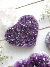 Load image into Gallery viewer, AA Purple Amethyst Cluster Crystal Hearts
