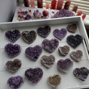 Natural Amethyst Crystal Hearts