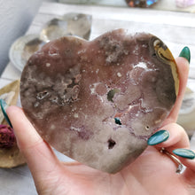 Load image into Gallery viewer, Agate Crystal Crescent Druzy Hearts