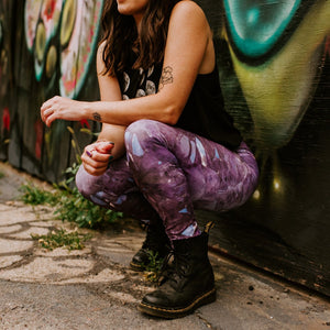 """Capri"" Purple Amethyst Eco Poly Crystal Statement Leggings"