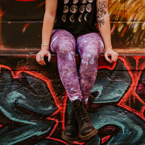 Purple Amethyst Eco Poly Crystal Statement Leggings