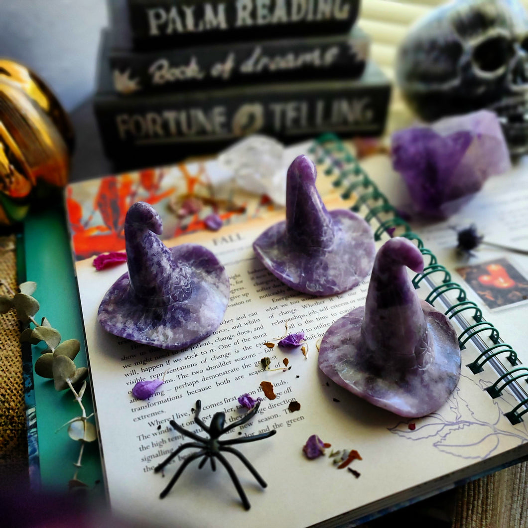 Natural Lepidolite Crystal Witch Hat