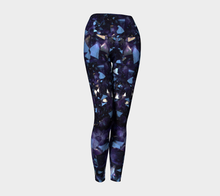Load image into Gallery viewer, Dark Purple Amethyst Crystal Fold Over Yoga Leggings