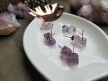 Load image into Gallery viewer, Purple Fluorite Octahedron Crystal Gemstone Geometric Stud Earrings