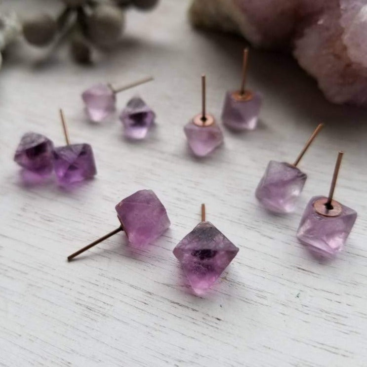 Purple Fluorite Octahedron Crystal Gemstone Geometric Stud Earrings