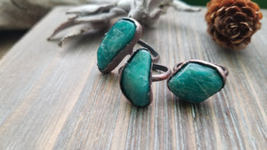 Pure Copper Amazonite Electroformed Gemstone Statement Rings
