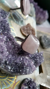 Electroformed Pure Copper Rustic Rose Quartz Crystal Statement Ring