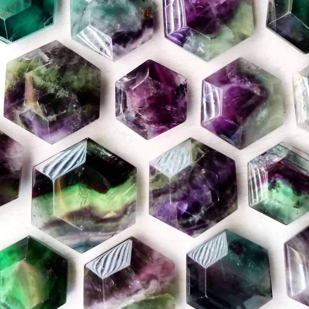 Natural Rainbow Fluorite Crystal Geometric Hexagons Sacred Geometry