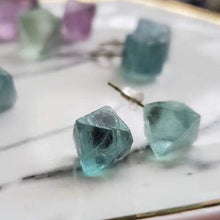 Load image into Gallery viewer, Green Fluorite Octahedron Crystal Gemstone Geometric Stud Earrings