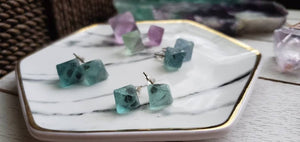 Green Fluorite Octahedron Crystal Gemstone Geometric Stud Earrings