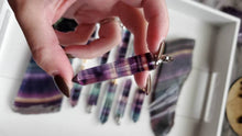 Load image into Gallery viewer, Natural Rainbow Fluorite Points Crystal Poison Essential Oil Hollow Bottle Vial Necklace