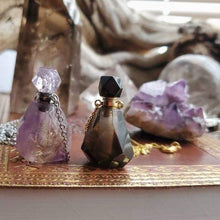 Load image into Gallery viewer, Amethyst Smokey Quartz Rose Quartz Crystal Poison Bottle Vial Necklace