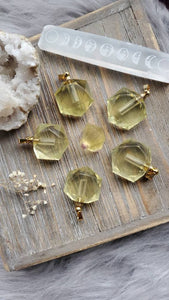 Natural Citrine Hexagon Crystal Poison Essential Oil Hollow Bottle Vial Necklace