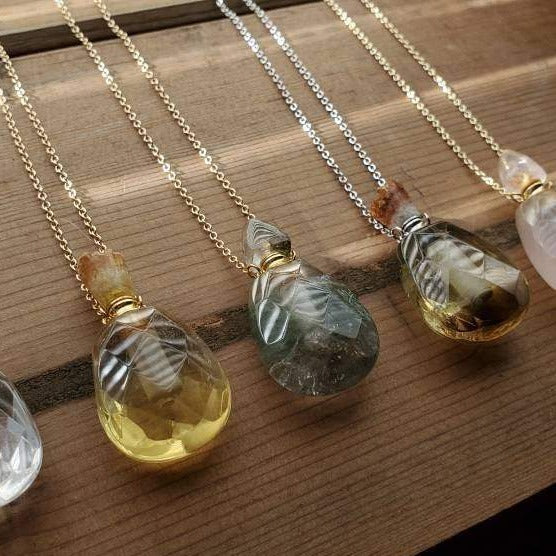 Natural Gemstone Faceted Crystal Poison Bottle Hollow Vial Essential Oil Perfume Necklace