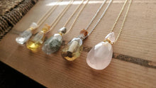 Load image into Gallery viewer, Natural Gemstone Faceted Crystal Poison Bottle Hollow Vial Essential Oil Perfume Necklace