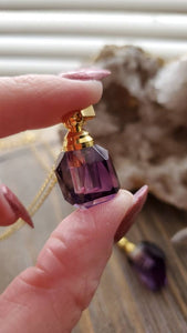Natural Gemstone AAA Phantom Amethyst Free Form Mini Crystal Poison Bottle Necklace