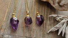 Load image into Gallery viewer, Natural Gemstone AAA Phantom Amethyst Free Form Mini Crystal Poison Bottle Necklace