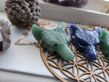 Load image into Gallery viewer, Natural Engraved Wolf Spirit Animal Gemstone Aventurine Sodalite Pendant Necklace