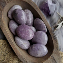 Load image into Gallery viewer, Natural Lepidolite Purple Gemstone Crystal Calming Palmstone Stress Anxiety Relief
