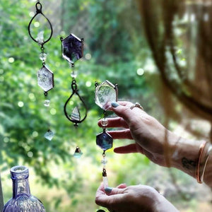 Electroformed Natural Quartz Crystal Fluorite Gem Gemstone Prism Sun Catcher Light Catcher