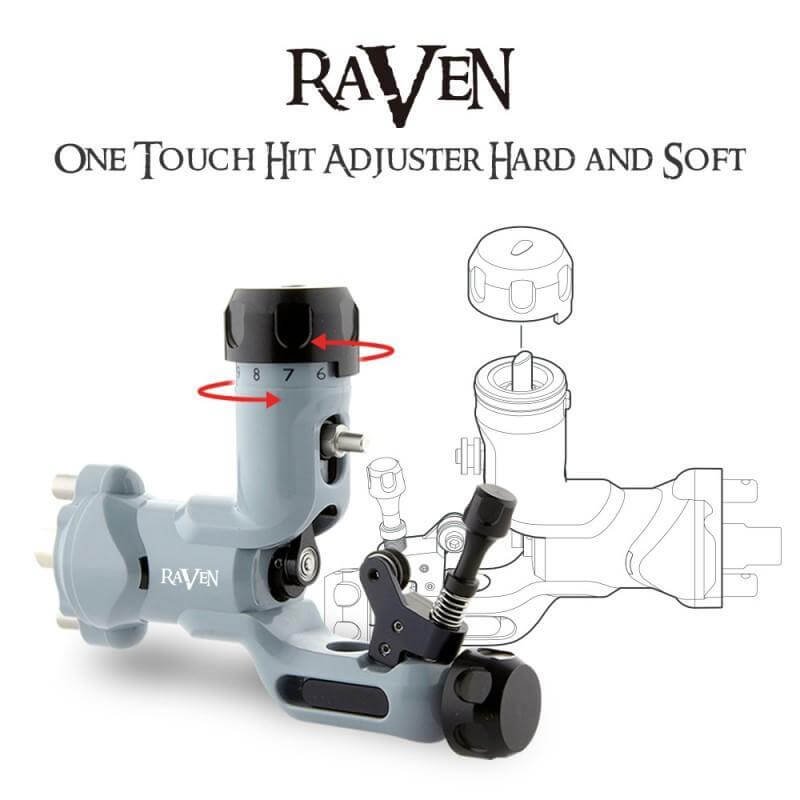 Dragonhawk Raven Rotary Tattoo Machine One Touch Hit Adjuster Machine with 304 Steel Tattoo Grip