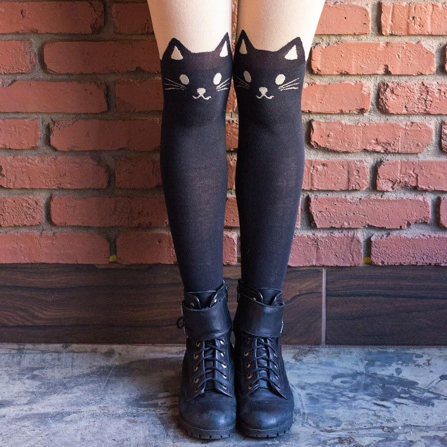 Black Cat Pantyhose - Petites Paws
