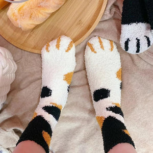 Fluffy Cat Paw Socks Set (6 pairs) - Petites Paws