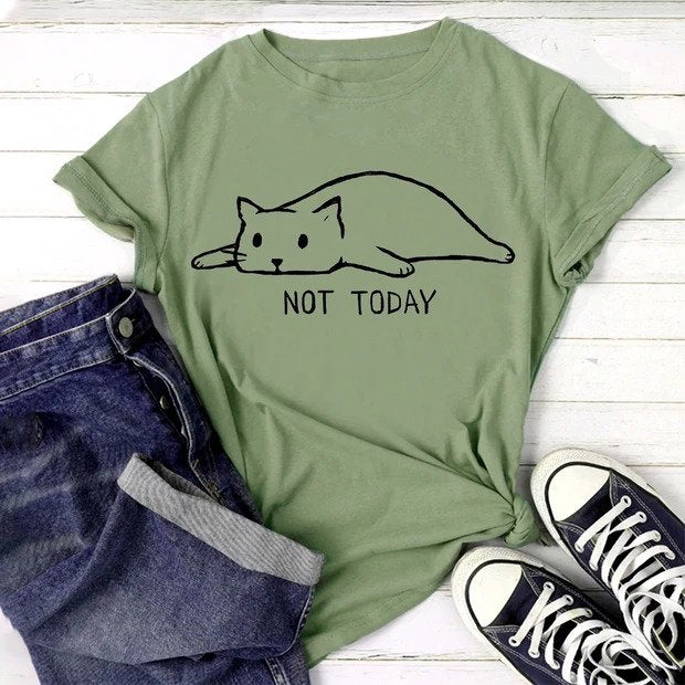 Not Today Lazy Cat Women's T-Shirt - Petites Paws