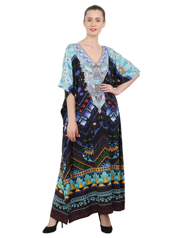 Women's Kaftans Plus Size Loungewear Long Maxi Style Dress [142-Black]