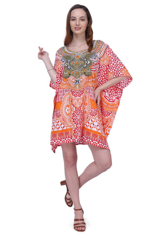Women's Kaftan Suitable for Standard to Plus Size 158-Red