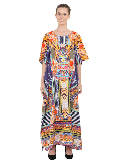 Women's Kaftans Plus Size Loungewear Long Maxi Style Dress [149-Multi]