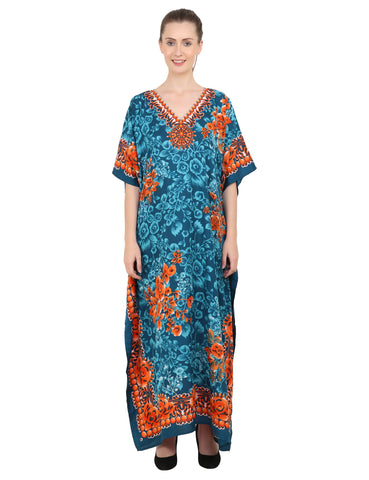 Women's Kaftan Tunic Kimono Long Evening Maxi Style Dress 601 - Teal
