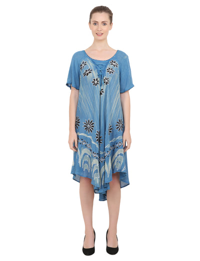 Women's Casual Loose Swing Flare Dress - 105-Blue