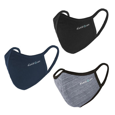Cloth Face Mask 5 Layers Pack of 3 (Black, Blue, Grey)