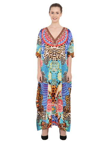 Women's Kaftans Plus Size Loungewear Long Maxi Style Dress [148-Multi]