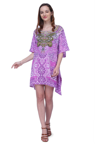Women's Kaftan Suitable for Standard to Plus Size 158-Purple