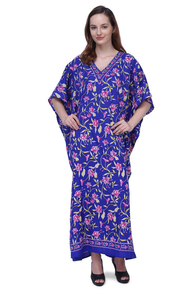 Women's Kaftans Plus Size Loungewear Long Maxi Style Dress [151-Blue]