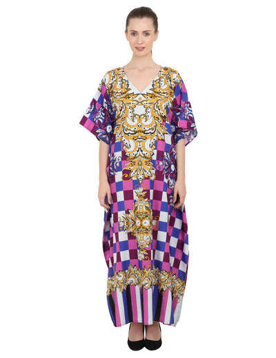 Women's Kaftans Plus Size Loungewear Long Maxi Style Dress [143-Purple]
