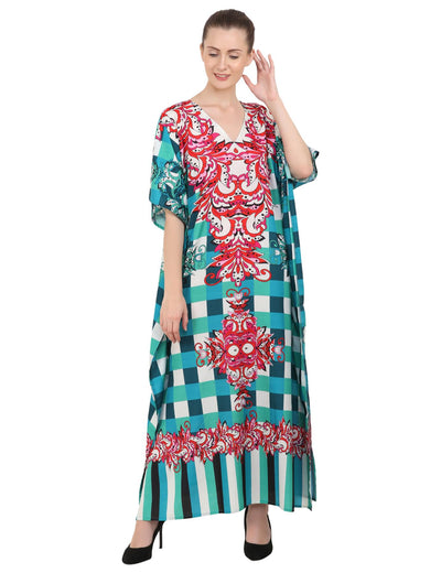 Women's Kaftans Plus Size Loungewear Long Maxi Style Dress [143-Teal]