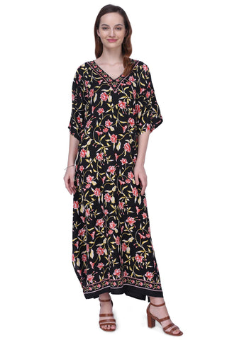 Women's Kaftans Plus Size Loungewear Long Maxi Style Dress [151-Black]