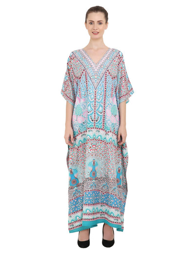Women's Kaftans Plus Size Loungewear Long Maxi Style Dress [147-Teal]