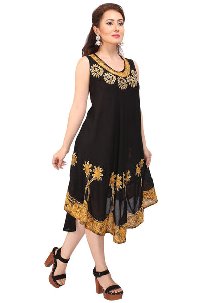 Women's Free Size Dress Flared Casual Sleeveless Tunic Batik Print Top