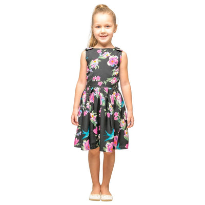 Girls Kids Vintage Style Shoulder Bow Dresses sizes from Floral Black Age 3 – 12 Years